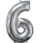 "Number 6 Silver SuperShape Mid-Size Foil Balloons 17""/43cm w x 26""/66cm h P31 - 5 PC"