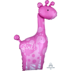 "Mom & Baby Pink Giraffes SuperShape XL Foil Balloons 25""/64cm w x 42""/107cm h P35 - 5 PC"