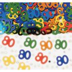 Number 80 Multi Colour Metallic Confetti 14g - 12 PC