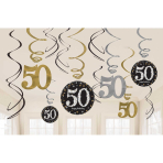 Gold Sparkling Celebration 50th Swirl Decoration Value Packs - 12 PKG/12