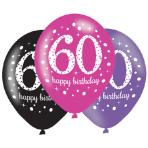 "Pink Sparkling Celebration 60th Happy Birthday Latex Balloons 11""/27cm - 6 PKG/6"