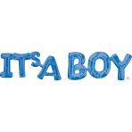 """""""It's A Boy"""" Blue Phrase Balloons G20 - 5 PC"""