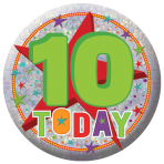 Happy 10th Birthday Holographic Badges 5.5cm - 12 PC
