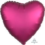 Pomegranate Heart Satin Luxe Standard HX Packaged Foil Balloons S15 - 5 PC