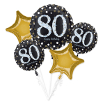Gold Sparkling Celebration 80th Birthday Foil Balloon Bouquets P75 - 3 PC