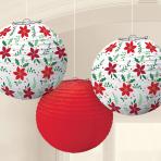 Traditional Christmas Printed Lanterns 24cm - 6 PKG/3