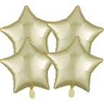 4 Pack Pastel Yellow Star Satin Luxe Standard Packaged Foil Balloons G20 - 3 PC