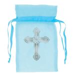 Blue Organza Bag with Crosses  - 8.8cm 12 PKG/12