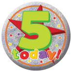 Happy 5th Birthday Holographic Badges 5.5cm - 12 PKG