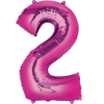 """Number 2 Pink Minishape Foil Balloons 16""""/""""40cm A04 - 5 PC"""