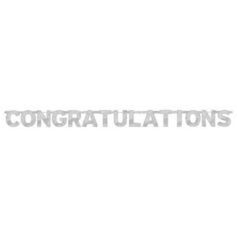 Congratulations Foil Letter Banners 2m x 15.8cm - 12 PC