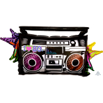 Totally 80s Boombox SuperShape Foil Balloons 35 /88cm w x 17 /43cm h P35 - 5 PC