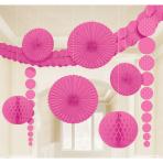 Bright Pink Dots Party Decoration Kit - 6 PKG