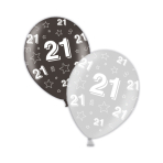 "21st Birthday Shimmering Silver & Deepest Black Printed Latex Balloons 11""/27.5cm - 25 PC"