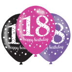 "Pink Sparkling Celebration 18th Happy Birthday Latex Balloons 11""/27cm - 6 PKG/6"