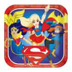 DC Super Hero Girls Square Paper Plates 23cm - 6 PKG/8