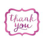 Bright Pink Thank You Stickers - 12 PKG/50