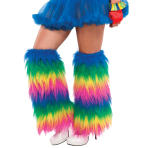 Rainbow Plush Leg Warmers Size Adult - 3 PC
