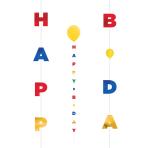 Primary Birthday Balloon Fun Strings 1.82m - 6 PC