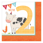 Barnyard 2nd Birthday Luncheon Napkins 33cm - 12 PKG/16