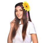 Hippie Wigs with Sunflower Headband - 6 PC