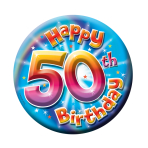 50th Birthday Large Badge  - 15cm - 6 PKG