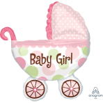 """Baby Buggy Girl SuperShape Foil Balloons 28""""/71cm w x 31""""/79cm h P35 - 5 PC"""