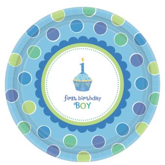 Sweet Little Cupcake Boy Eco Paper Plates 26.6cm - 6 PKG/8