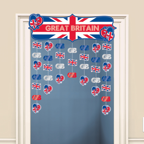 Great britain icons door curtains h x 91cm w 6 pkg for Decor products international