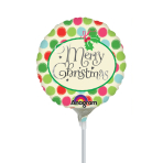 Merry Christmas with Dots Mini Foil Balloons A15 - 5 PC