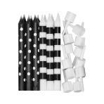 Black Dots & Stripes Candles - 12 PKG/12