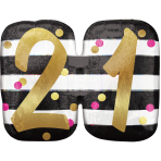 """Pink & Gold 21st Birthday Holographic SuperShape Foil Balloons 25""""/63cm x 22""""/55cm P40 - 5 PC"""