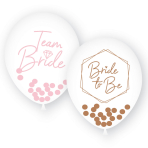 "Team Bride 1 Colour Print Latex Balloons with Confetti filling 11""/27cm - 6 PKG/6"