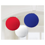 Great Britain Red/White/Blue Hanging Lanterns 24cm - 6 PKG/3