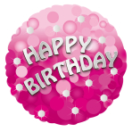 Pink Sparkle Party Happy Birthday Standard Foil Balloons S40 - 5 PC