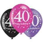 "Pink Sparkling Celebration 40th Happy Birthday Latex Balloons 11""/27cm - 6 PKG/6"