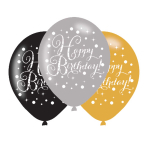 "Gold Celebration Happy Birthday Latex Balloons 11""/27.5cm - 6PKG/6"