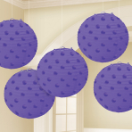 Purple Hot Stamped Paper Lanterns 12cm - 6 PKG/5