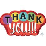 """Thank You Dots SuperShape Foil Balloons 30""""/76cm w x 18""""/45cm h P30 - 5 PC"""