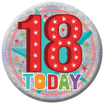 18 Today Holographic Badges 15cm - 6 PKG