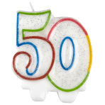 Milestone Birthday Candles 50th - 7.5cm - 6 PKG