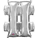 """Symbol # SuperShape Silver Foil Balloons 34""""/""""86cm P50 - 5 PC"""