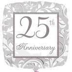 25th Anniversary Silver Elegant Scroll Standard Foil Balloons S40 - 5 PC