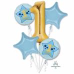 1st Birthday Boy Blue & Gold Foil Balloon Bouquets P75 - 3 PC
