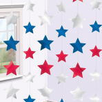 USA Star String Decorations  - 2.1m - 12 PKG/6