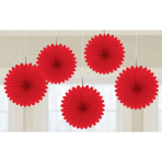 Red Mini Paper Fans 15cm - 6 PKG/5
