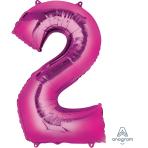 "Number 2 Pink SuperShape Foil Balloons 21""/53cm w x 35""/88cm h P50 - 5 PC"