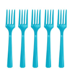 Caribbean Blue Heavy Weight Plastic Forks - 12 PKG/48