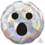 Iridescent Ghost Face Standard Foil Balloons S40 - 5 PC