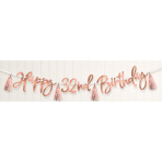 Rose Gold Happy Birthday Add-an-Age Banners 2.74m - 6 PC